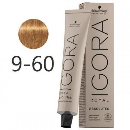 Краска для седых волос Schwarzkopf  Igora Absolutes 9-60 Экстра светлый блондин шоколадный натуральный 60 мл
