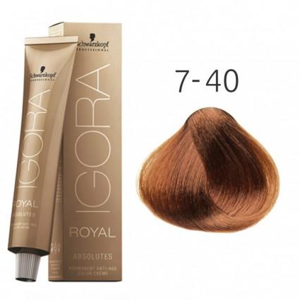 Краска для седых волос Schwarzkopf Igora Absolutes 7-40 Средне-русый бежевый натуральный 60 мл